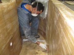 Laying Fiberglass In Tank