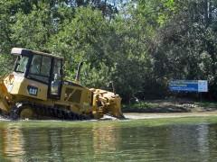 Bulldozer Spreading Gravel