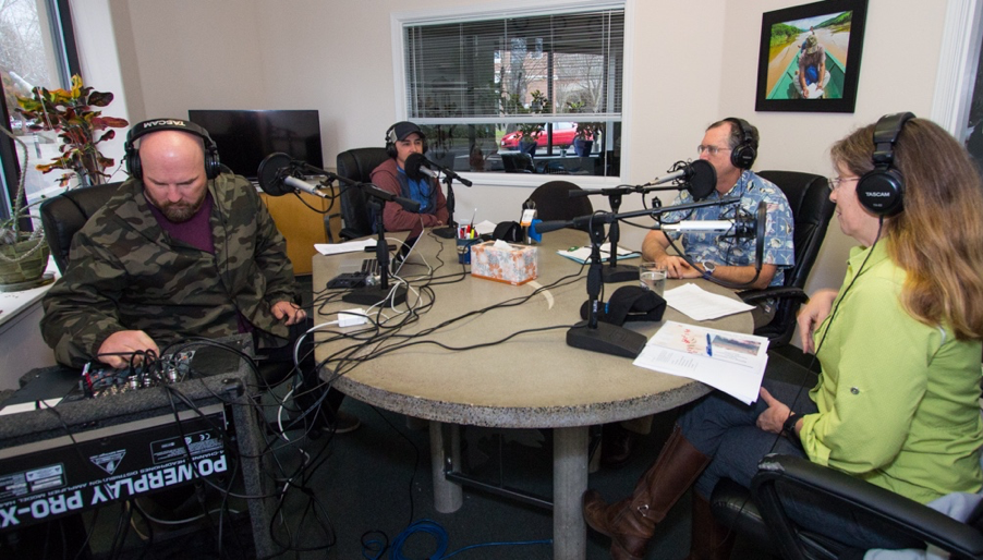 Barbless Podcast recording session at FISHBIO Chico office