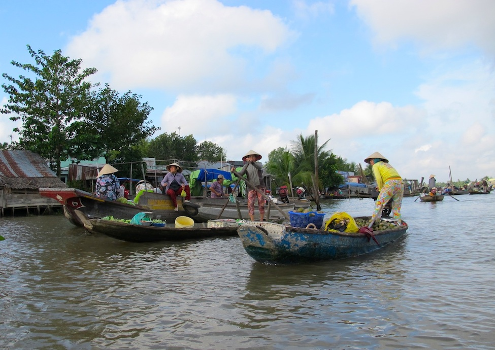 Boats on the Mekong Delta