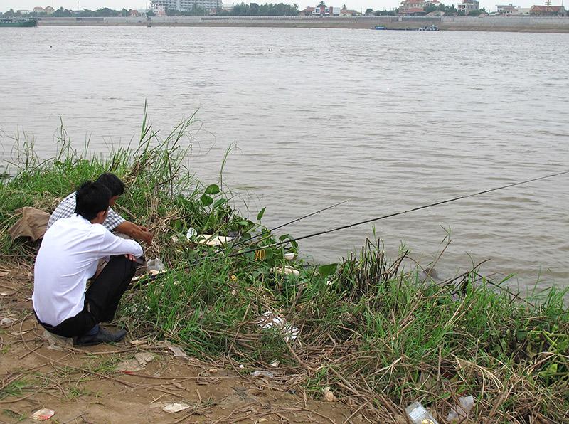 Fishing in Phnom Penh, Cambodia