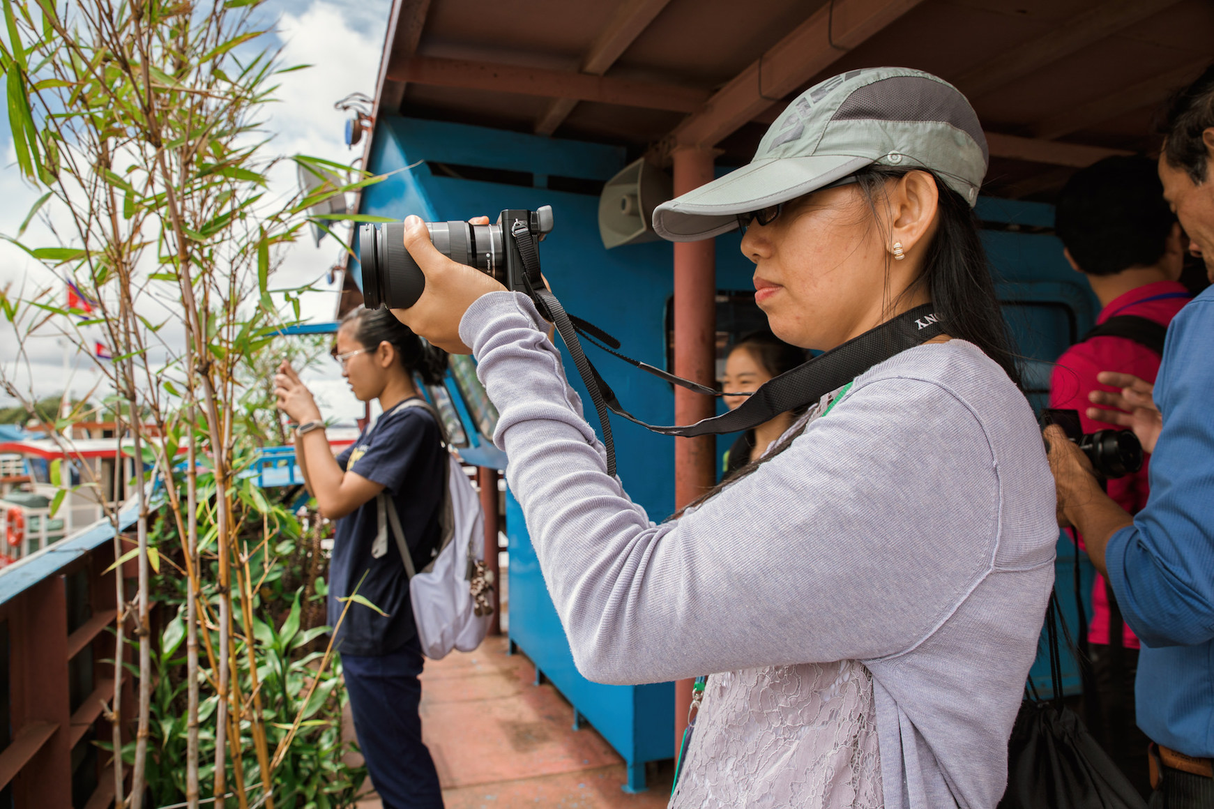 Chea Seila practicing photography for Mekong Conservation Heroes