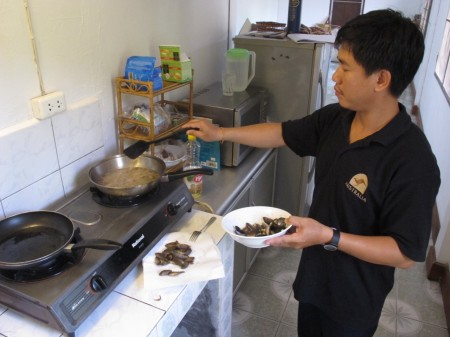 Cooking climbing perch at the FiSHBIO Lao office