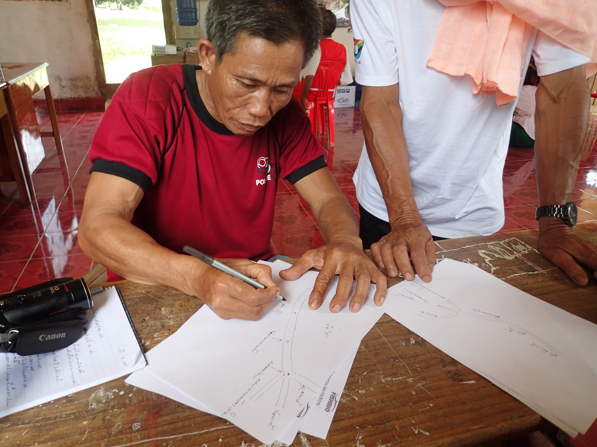Drawing proposd FCZ site in Ang Noi village for Fish Cosnervation Zone Network