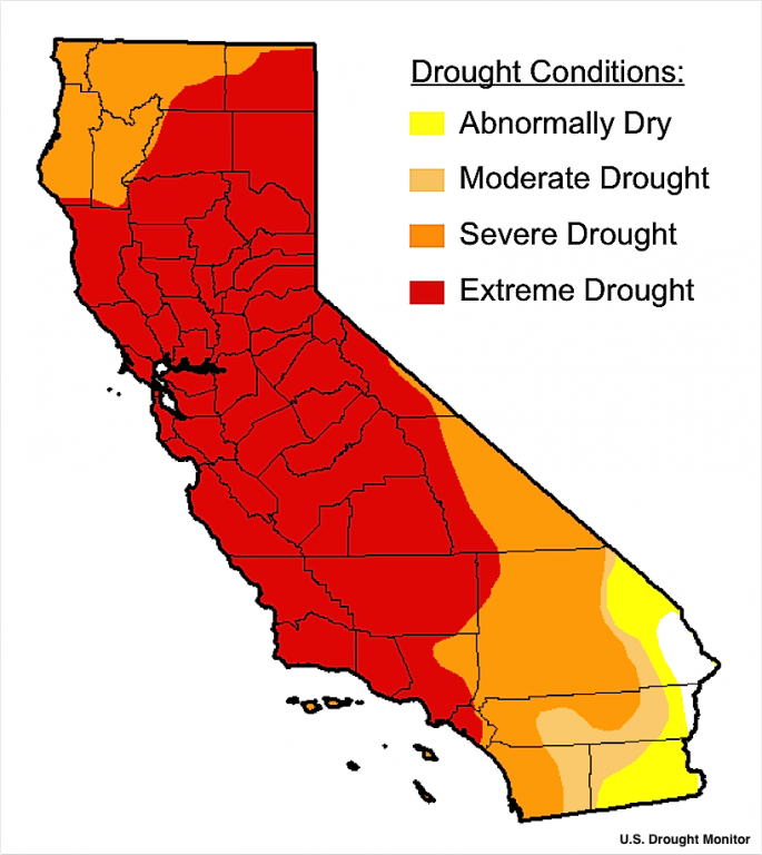 US Drought Monitor Map of California for Jan. 16, 2014