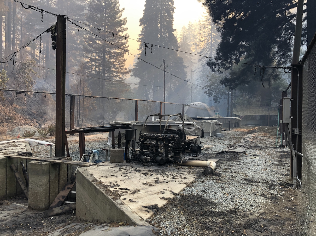 Fire damage at Monterey Bay Salmon and Trout Project hatchery