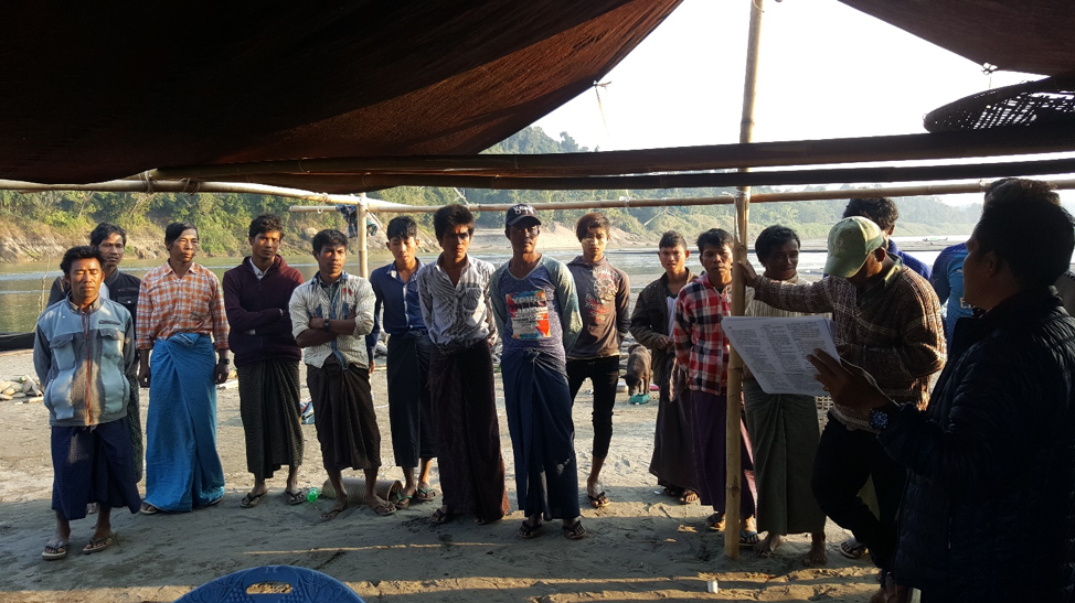 Fisher meeting along Chindwin River in Myanmar