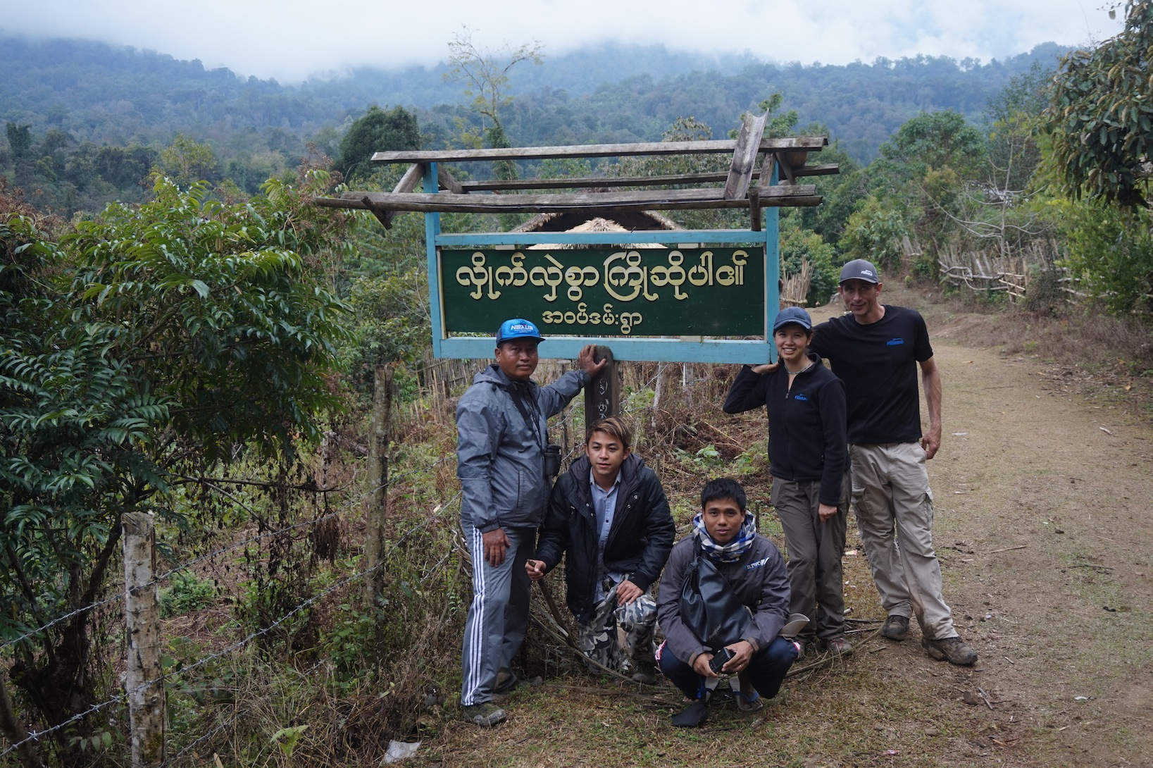 Group photo with Phonganrazi National Park Sign in Myanmar