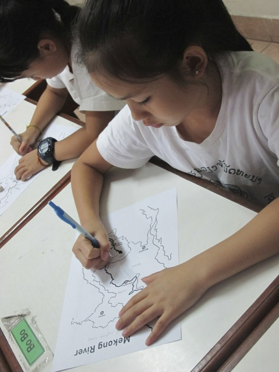 Students label maps of the Mekong River