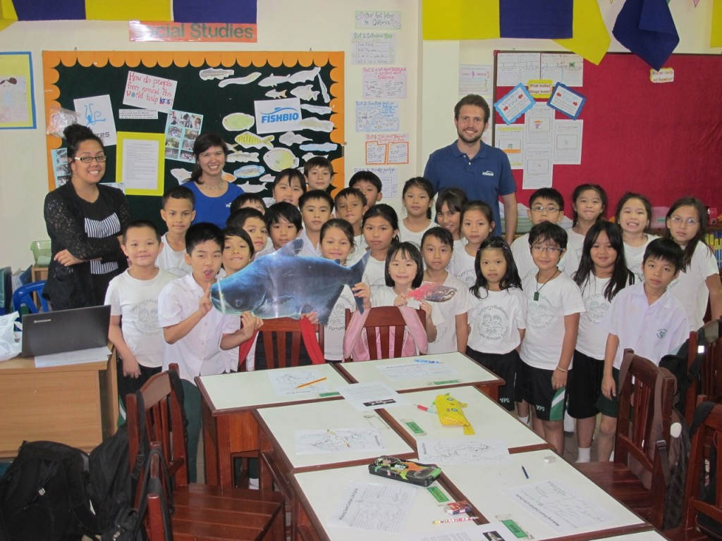 Class visit with Meko the Mekong Giant Catfish and Stan the Salmon visiting from California