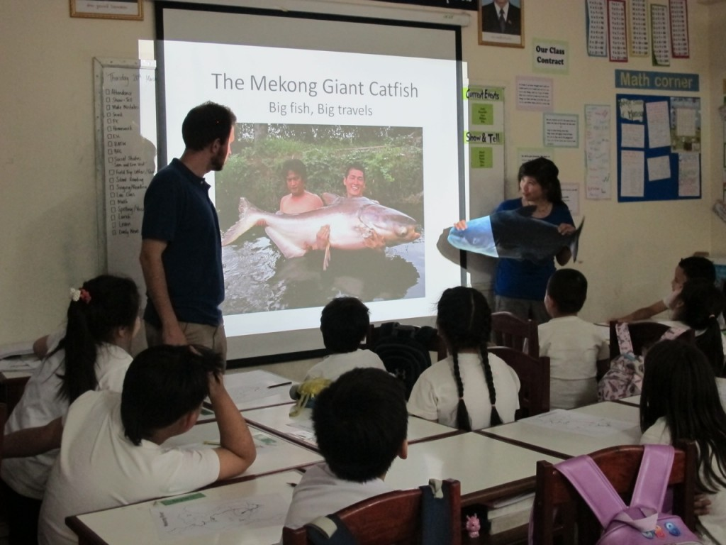 FISHBIO staff teach about Mekong Giant Catfish