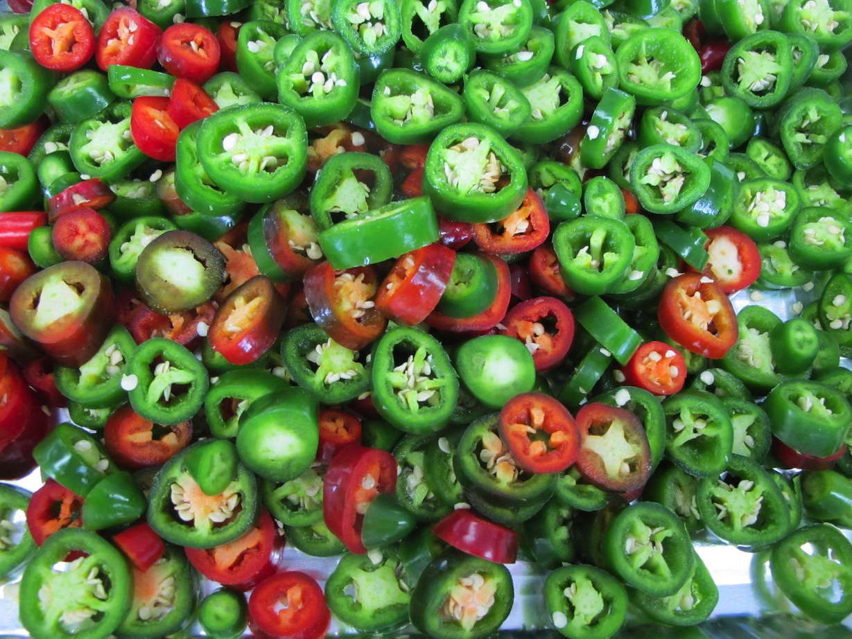 Peppers ready to make nacho rings