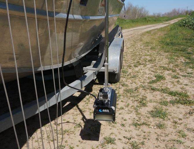 ARIS camera mounted on an electrofishing boat