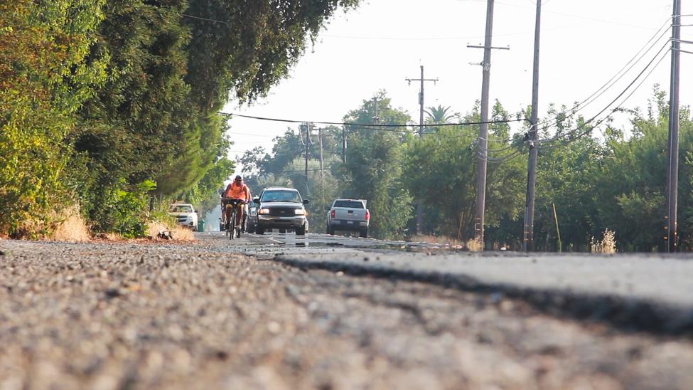 Run4Salmon Biking along the road