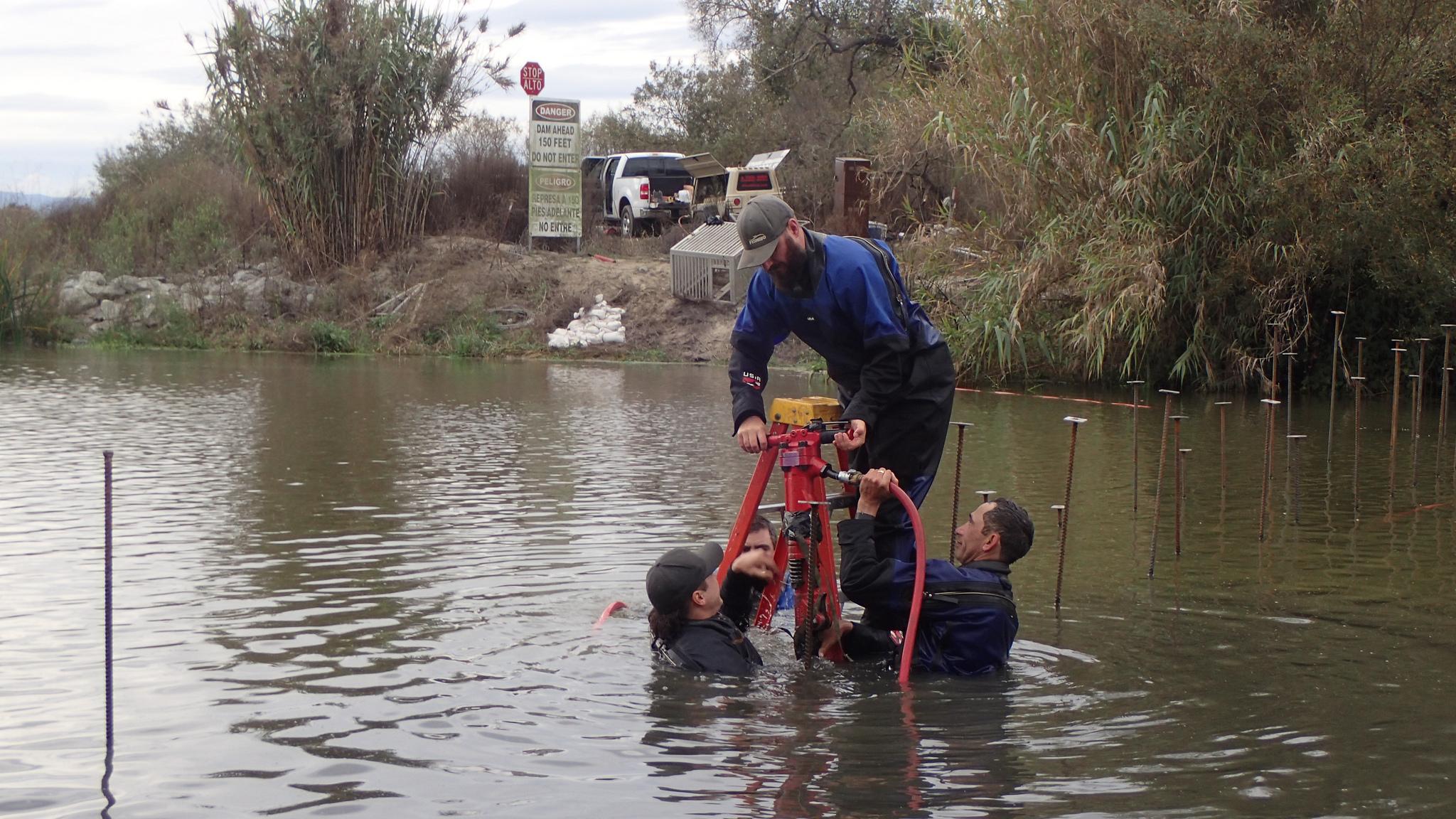 Salinas Weir install jack hammer