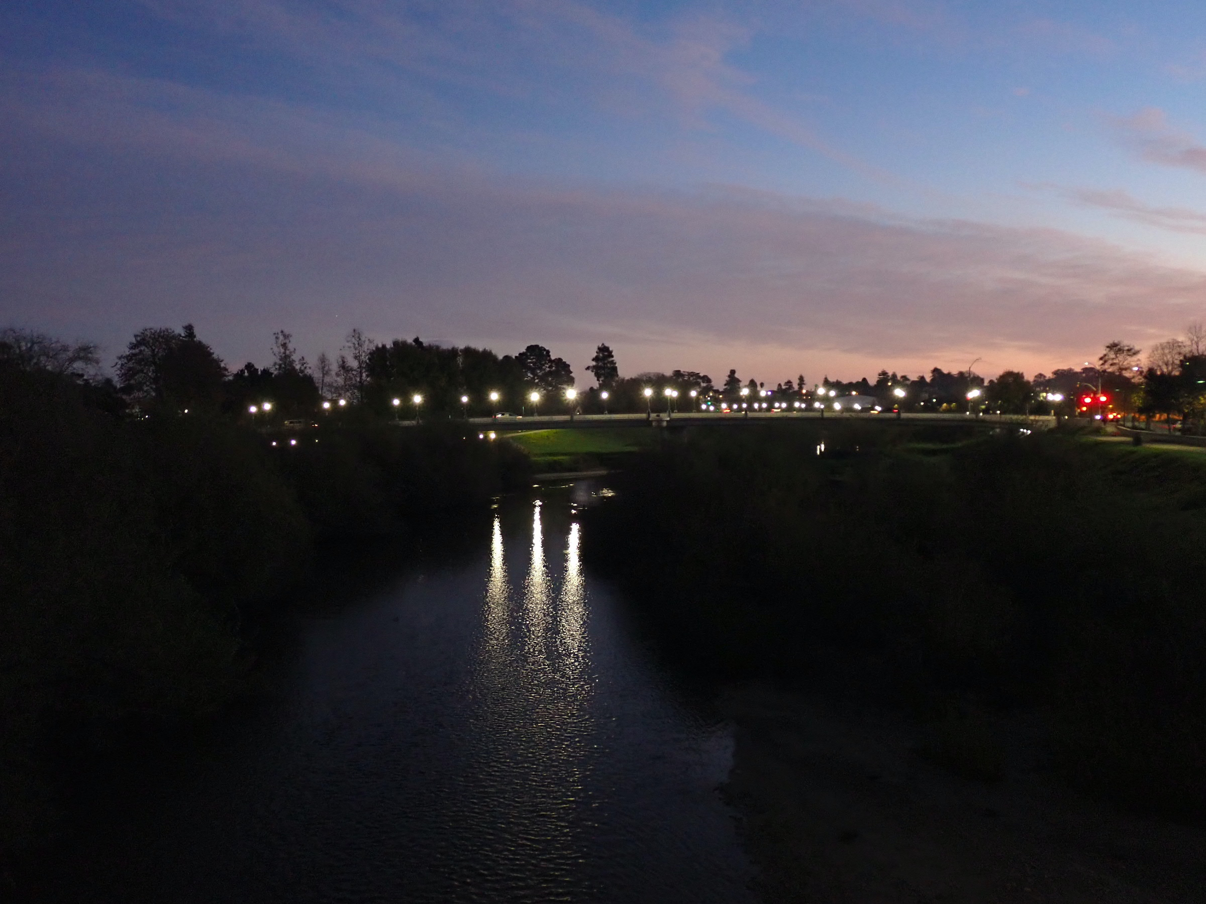 San Lorenzo River at night