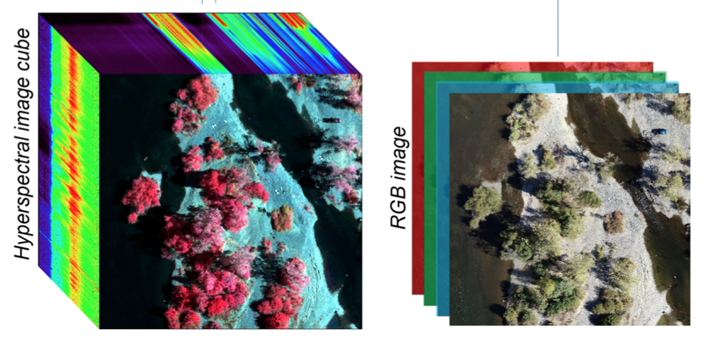 Comparison of hyperspectral and Red Green Blue (RGB) drone imagery. Photo courtesy of Lee Harrison
