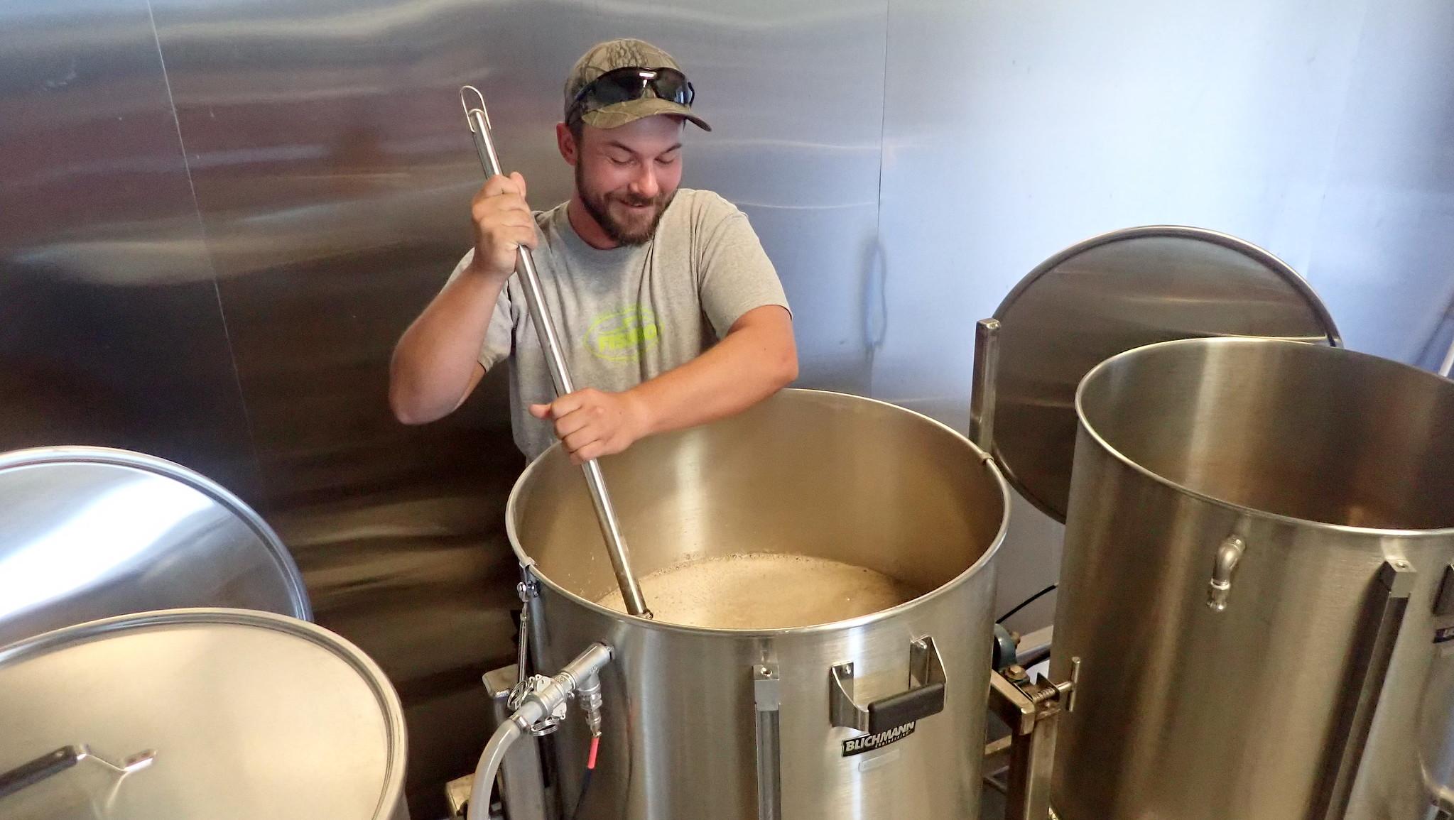 stirring beer