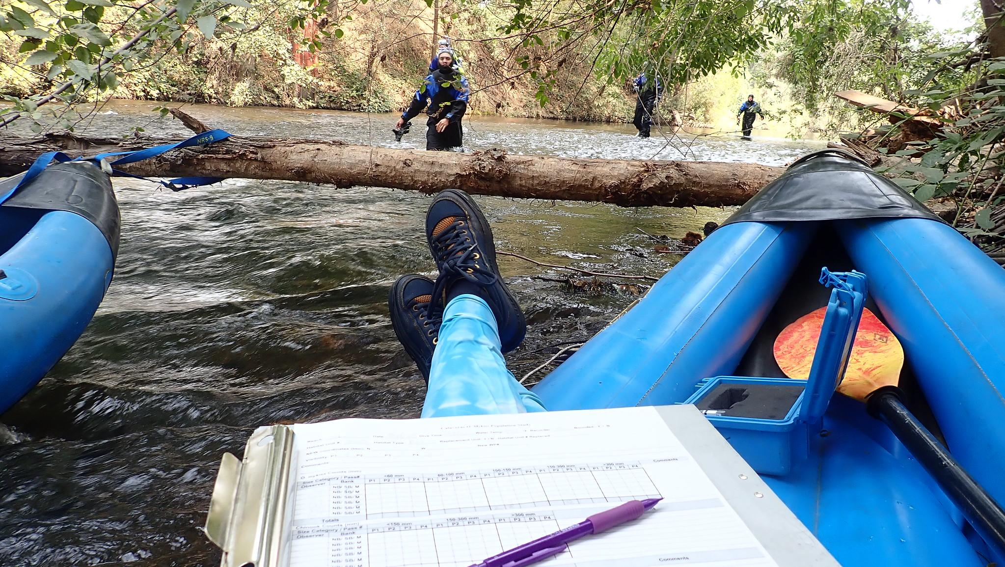 Taking snorkel data by kayak