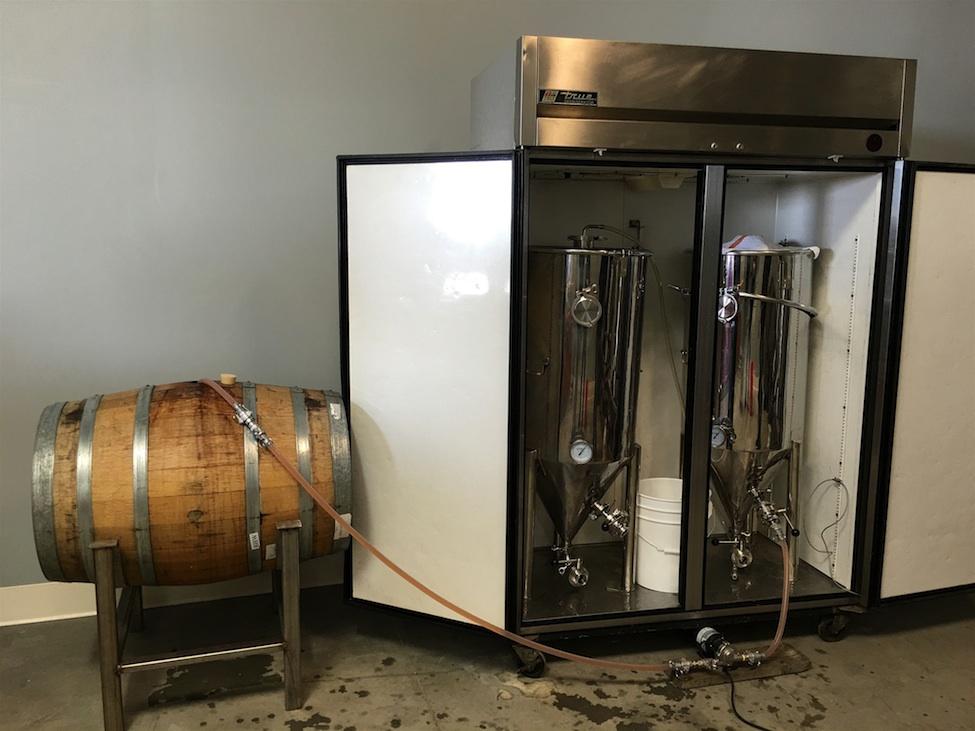Transferring beer into barrels