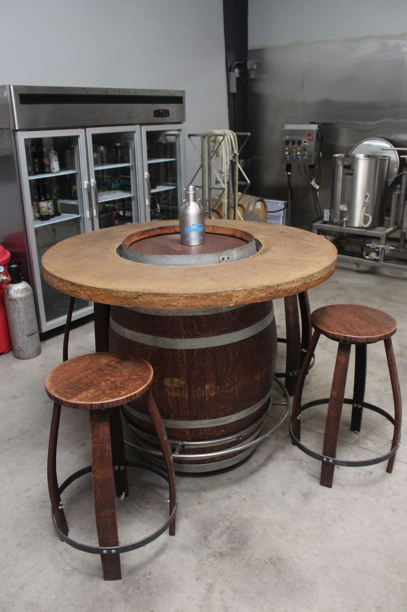 Wine barrel table in the brew lab