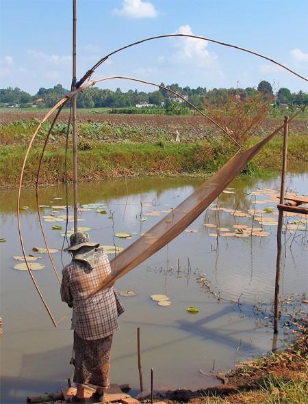 Fisher deploying lift net