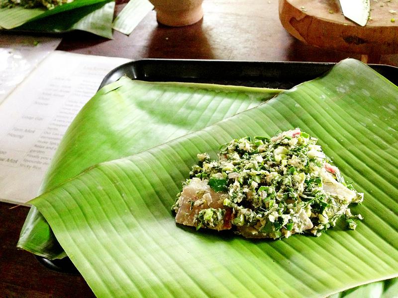 Mekong fish in banana leaves